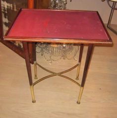 Delightful 1940u0027s Austrian Pear Wood Base, Brass Trim Side Table With New Leather Top.  Www