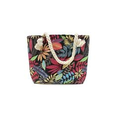 Rope Handle Bag - Red And Blue Flowers Laukku