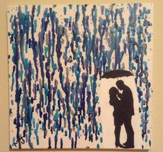 Melted crayon on canvas (couple in the rain)