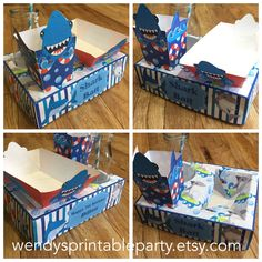 Shark Themed Party Food Lunch Box with Hotdog Tray & Popcorn Box (Printable by you /DIY) - Dimensions / product details in description by WendysPrintableParty on Etsy