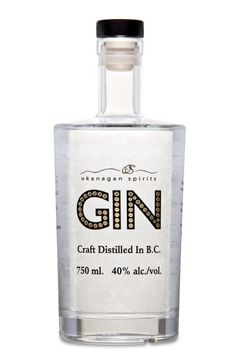 Okanagan Gin. 40 % ABV. Contemporary. Craft-distilled in a copper pot still and cut with the purest Okanagan spring water. Finest botanicals including Juniper Berry, Coriander, Spruce, and Rose Petal.