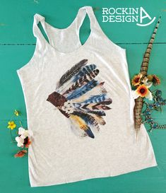 Warbonnet tank / feather headdress / graphic tank by RockinAdesign  Women's Clothing Tops & Tees Tanks graphic tee Rockin A Design tee wholesale racerback tank western southwestern feathers headdress indian native american wildflowers