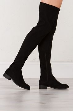 Akira Chic Thigh High Flat Boots in Black  (Get the Look at www.shopakira.com)  #Dresses #Sweater #Jackets #OOTD #OOTN #Tops #Chokers #outfits #Heels #bodysuit #Sandals #Sneakers #WinterFashion #Style #Fashion #ShopAkira