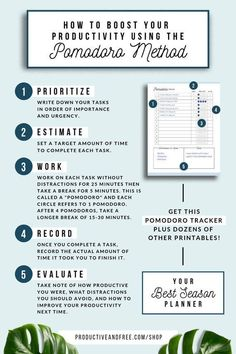 boost your productivity with the Pomodoro method Routine Planner, Goals Planner, Planner Ideas, Weekly Planner, Pomodoro Method, Time Management Skills, Project Management, Time Management Quotes, Productivity Hacks