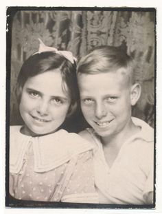 ** Vintage Photo Booth Picture **   Sister and Brother posing very sweetly together.
