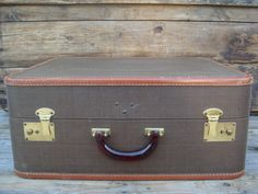 Vintage Suitcase Luggage Brown Square Suitcase by PageScrappers, $38.00
