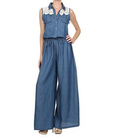 Love this Faded Blue Celeste Linen Pants by Couleur Lin on #zulily ...