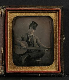 Sixth Plate Daguerreotype Portrait of a Young Man Playing a Banjo, in original pressed-paper/leather case, (tarnished. on Nov 2011 Antique Photos, Vintage Photographs, Old Photos, Vintage Photos, Louis Daguerre, Portraits Victoriens, Best Guitar Players, Old Photography, Music Images