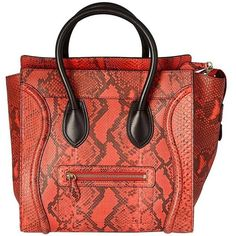 Preowned Céline Black And Red Python Print Luggage Handbag ($1,650) ❤ liked on Polyvore featuring bags, red, totes, leather handbag tote, mini tote bags, mini tote handbag, leather tote handbags and red tote handbags