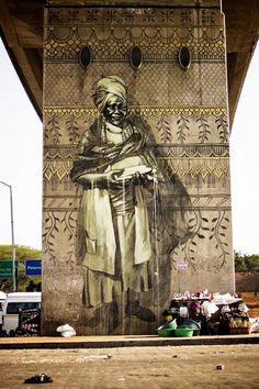 Pintura mural: Faith47 Commercante, Sudáfrica, arte callejero.