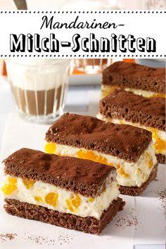 Viel köstlicher als das Original! Diese #Milchschnitten kommen mit Mandarinen daher. So geht's! #Kuchen