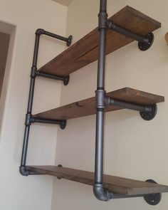 "Industrial pipe shelving with reclaimed wood. This unit has three 36"" solid wood planks. $350. Want something different? We can custom build anything you want. See our etsy shop for more. by industrial_pipe_furniture #industrial_fitness_room"