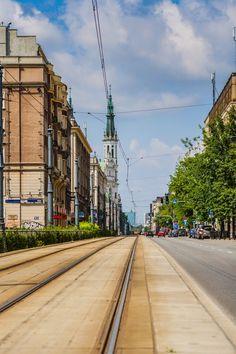 Marszalkowska street - view towards square & church of the Saviour, Warsaw, Poland