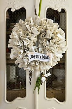 Joyeux Noel paper book page christmas wreath, great for door decor or above the mantel
