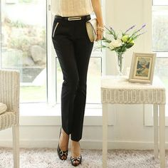 Contrast-Trim Dress Pants from #YesStyle <3 Ringnor YesStyle.com