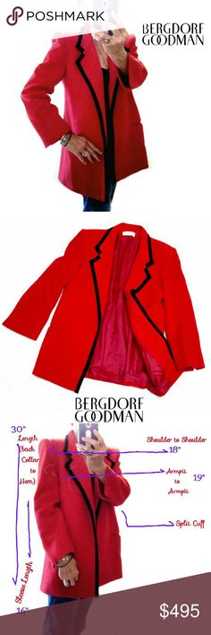 VINTAGE BERGDORF GOODMAN RED WOOL JACKET VINTAGE BERGDORF GOODMAN ON THE PLAZA RED WOOL JACKET Pre-Loved  /EUC SZ M THIS IS AS ELEGANT AS U CAN GET IN A JACKET!!!  BEAUTIFUL but Too Big on Me!  Bergdorf Goodman Only Has THE Very Best Designer Clothes to Offer....& This is One of Them *   Wool Blend  / Black Twill Tuxedo  Trim *   Two Front Double Trim Slip Pockets *   Built in Shoulder Pads *   Slimming Fitting Appearance (no Flare) *   Fully Lined Approx Meas. On 3rd Pic .Orig. $2998.00 Ask…
