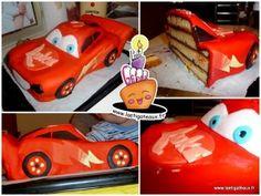 Mon premier gâteau pâte à sucre: Flash Mc Queen de cars! --  My first sugarpaste cake: Lightning Mc Queen from Cars