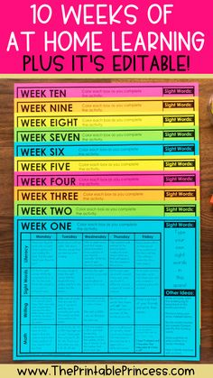 These 10 weeks of activities are perfect for learning at home. Each day includes a reading, writing, sight word, and math activity. The sight word lists are editable along with a completely editable calendar that's also included. The activities are quick, Home Learning, Learning Resources, Teacher Resources, Learning Spaces, Teacher Sites, Teacher Binder, Teacher Planner Free, Learning People, Teacher Lesson Planner