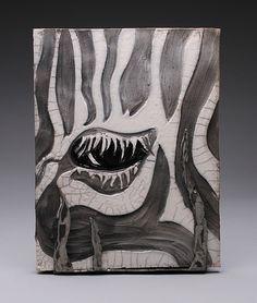 Ceramic Raku zebra tile by Jill Gerlach