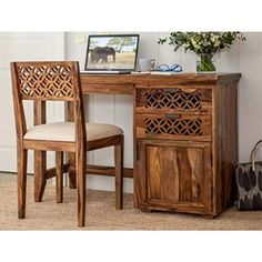 RS Furniture Sheesham Wood Writing Study Table for Home and Office with Chair Study Desk (Natural Finish) - Justfamousdeal Wooden Study Table, Study Table And Chair, Wooden Office Chair, Chair Design Wooden, Toddler Table And Chairs, Study Desk, Study Rooms, Indoor Hammock Chair, Outdoor Lounge Chair Cushions