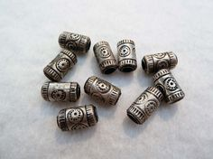 10 Sinarin Silver Tube Beads, Ethnic Silver Beads from Thailand,  sterling…