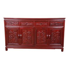 View this item and discover similar for sale at - A stunning Chinese carved solid rosewood sideboard or credenza. The sideboard featured gorgeous wood grain and nice floral carvings. It offers ample storage, Credenza Sideboard, Vintage Sideboard, Sideboard Buffet, Distressed Furniture Painting, Rosewood Sideboard, Carved Doors, Modern Sideboard, Sideboard Furniture, Carved Furniture