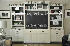 entertainment center decor- I like the brown painted back
