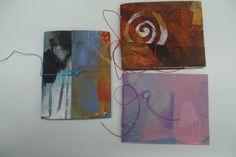 Resultaat van een cursist tijdens workshop in Atelier Velijn. Gelliplate en 3 x Cahierbinding.