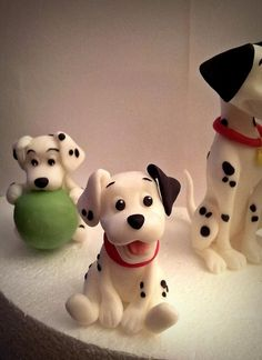 Topper One Hundred and One Dalmatians Fondant Dog, Fondant Animals, Clay Animals, Cute Polymer Clay, Polymer Clay Projects, Dog Cakes, Bike Cakes, Dog Cake Topper, Puppy Cake