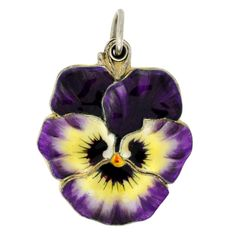 Art Nouveau Enameled Pansy Flower Slide Locket | From a unique collection of vintage necklace enhancers at http://www.1stdibs.com/jewelry/necklaces/necklace-enhancers/