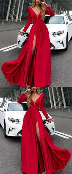 Long Sleeves Prom Dresses,Red Prom Dress,Red Evening Gowns,Chiffon Evening Dresses,Chiffon Bridesmaid Dresses M3532