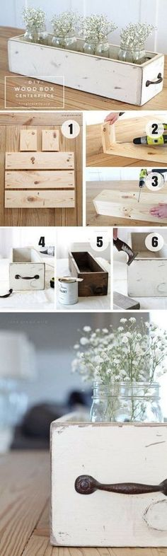 DIY Wood Box Centerpiece. This wood box with shabby chic look fits in with any farmhouse or cottage vibe. It is great to display some pretty seasonal flowers or other decorative items.