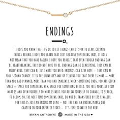 Endings Necklace - Necklace quotes - Artikel Diamond Choker Necklace, Dainty Necklace, Diamond Jewelry, Self Love Quotes, Quotes To Live By, Let It Go Quotes, Moving On Quotes Letting Go, Change Quotes, True Quotes