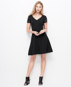 085c0cb3f0a P SS Lthr Slv Ponte Dress - Amped up with sleek faux leather sleeves