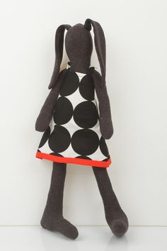 Hip Dark Soft bunny Wearing white Dotted Black dress - handmade fabric doll