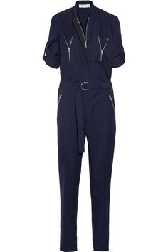 Navy wool-twill Concealed zip fastening along front 100% wool; pocket lining: 100% cotton Dry clean Made in the UK