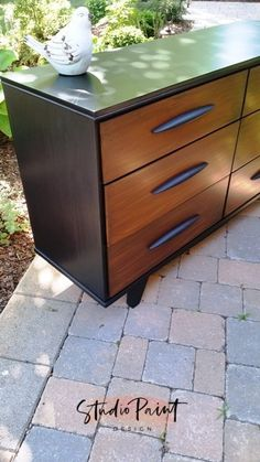two toned mid-century modern dresser More