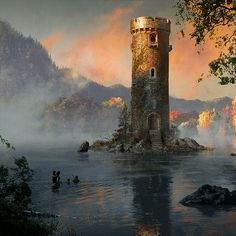 Bran, Hodor, Jojen and Meera make their way out to the lake tower in Queenscrown.... Art by Michael Komarck for the 2009 'A Song of Ice & Fire' Calendar.