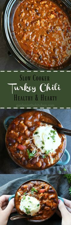 Slow Cooker Turkey Chili; packed with protein and fiber, this healthy and hearty turkey chili will keep you warm and cozy all winter long.