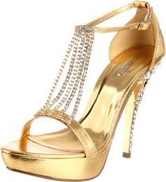 Celeste Women's Mimi-09 T-Strap Sandal,Gold,7 M US