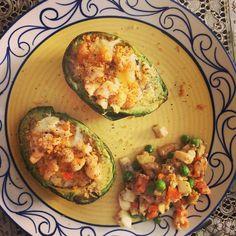 Avocado egg teriyaki salad and egg stuffed avocado