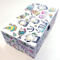 Caja Los Marineritos Painted Wooden Boxes, Hand Painted, Unfinished Wood Crafts, Decoupage Box, Creative Kids, Painting On Wood, Beauty Box, Decorative Boxes, Projects To Try