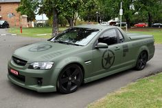 Military Themed Holden Ute Body Wrap We definitely shouldn't go full military! Holden Muscle Cars, Aussie Muscle Cars, Toyota Trucks, Chevy Trucks, Mazda, Vehicle Signage, Chevy Models, Amc Javelin, Chevy Ss