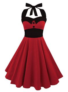 """Robe Rockabilly Pin-Up Retro Swing Rock Ange'Hell """"Ashley Red mini Black dots"""" Mode Rockabilly, Rockabilly Fashion, Robes Vintage, Vintage Dresses, Pin Up Outfits, Cute Outfits, Gown Dress Party Wear, Vintage Couture, Vintage Fashion"""