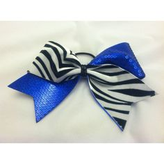 "3"" cheer bow with zebra print and royal blue sequins ($15) ❤ liked on Polyvore"