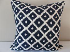 Blue and White Ikat Dot Diamonds Jumba Decorative Pillow Cover - Kasmir Fabrics - Throw Pillow - Toss Pillow - Reversible Fabric, Both Sides Modern Throw Pillows, Ikat Pillows, Toss Pillows, Trellis Design, Perfect Pillow, Decorative Pillow Covers, Pattern Design, Blue And White, Handmade Gifts