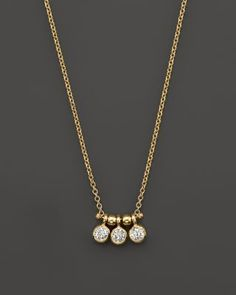 """Zoë Chicco 14K Yellow Gold and Diamond Bezel-Set 3 Necklace, 16"""" 
