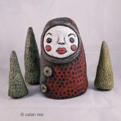Ceramic art doll figure - Forest spirit #2- by calan ree