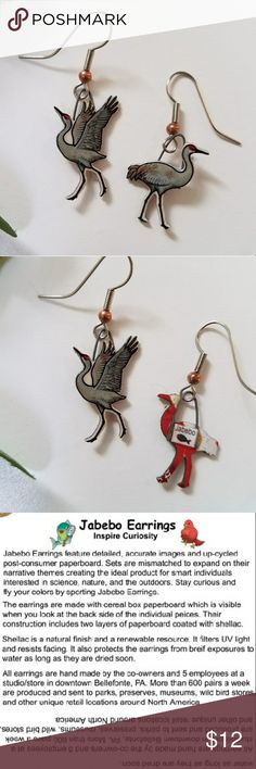 Jabebo Sandhill Crane Earrings PRICE FIRM Nature-inspired earrings, made of shellaced cereal boxes! and surgical steel wires. See third picture for more info about Jabebo earrings. 7/8 inch. Price firm unless bundled. Jabebo Jewelry Earrings