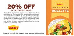 DENNY'S $$ Reminder: Coupon for 20% off Entire Check – Expires SUNDAY (10/13)!